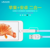 USAMS 2 in 1 Data Cables U-trans Series Lightning And Mirco Cables For Apple Samsung HTC Xiaomi LG Songy etc.