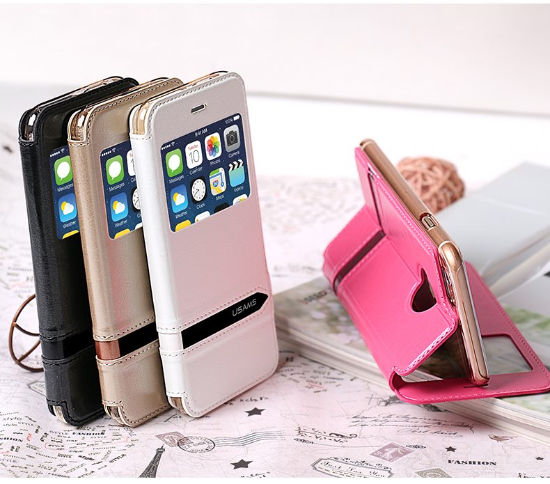 buy popular 16b24 8c7e9 Apple iPhone 6 Case Cover Flip Stand Luxury PU Leather With Window Cell  Phone Case Merry Series Purchased