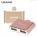 USAMS Type-C to USB HUB 2.0 Adapter Cable 2 In 1 Macbook Data Extension Charge Video Transfer